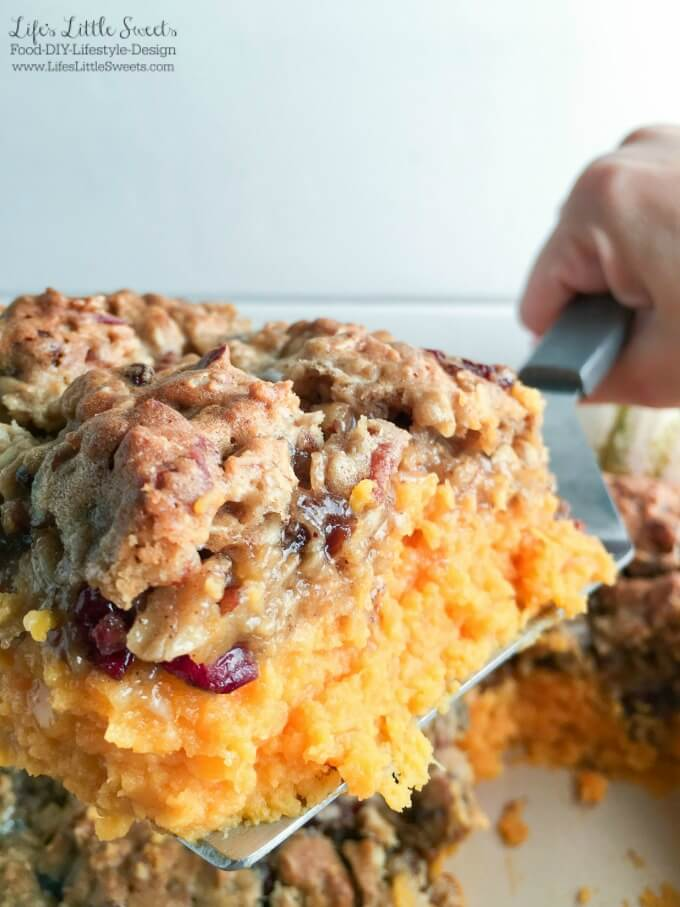 This Oatmeal Cookie Marshmallow Sweet Potato Casserole has all the Fall flavors in a one-pan dish including cranberries, raisins, cinnamon, pecans and sweet potato. It's the perfect sweet side to accompany all those savory Thanksgiving dishes!