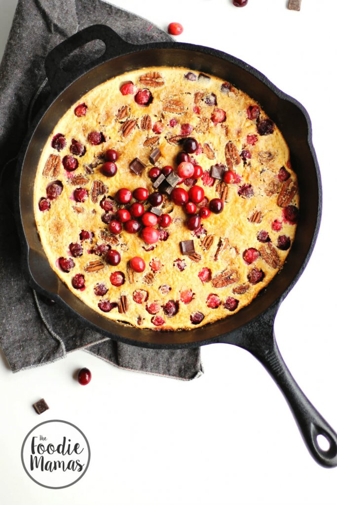 Cranberry Clafoutis with Dark Chocolate and Pecans | Trish of Rhubarbarians - 10 Holiday Desserts Recipe Roundup #FoodieMamas