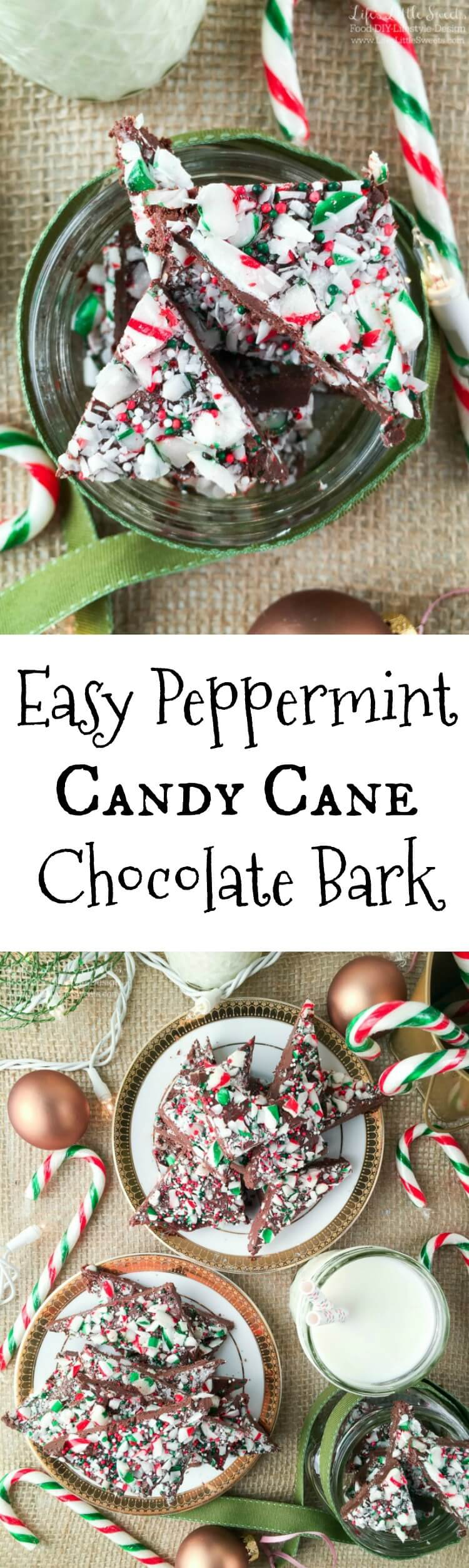 This easy to make Easy Peppermint Candy Cane Bark recipe is a sweet and refreshing treat that only takes minutes to prepare . It's perfect as a holiday stocking stuffer, great to give as a gift in jars and make for yourself too!