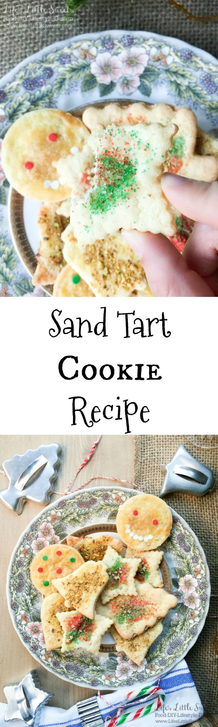 This Sand Tart Cookie Recipe is our family recipe perfect for the Christmas & Holiday season making a big batch of cookies. These cookies are easy to customize to your tastes with various toppings and make a fun activity for everyone involved. Check out our family home VIDEO of our cookie making session. #sandtart #recipe #homemade #cookies #cookie #sugarcookie #Christmas #sprinkles