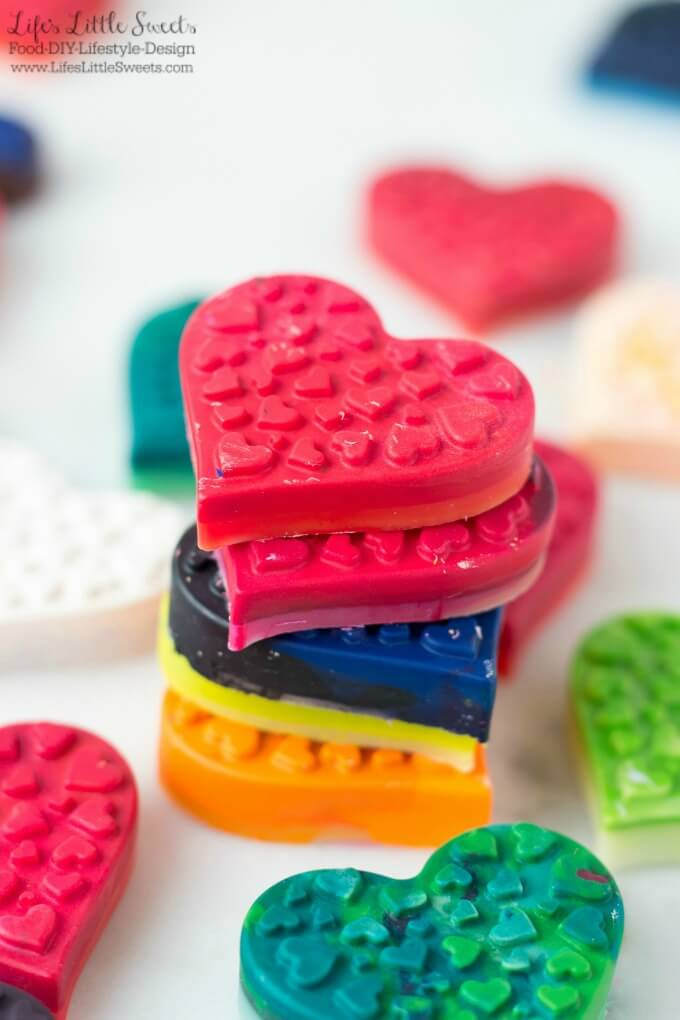 DIY Heart-Shaped Crayons are an easy, kids activity craft to do for Valentine's Day. You can put those old, broken crayons that you've been collecting to good use and teach your child about recycling. Make these to include with Valentine's Day cards or as a gift for the school room or for a special friend. medium