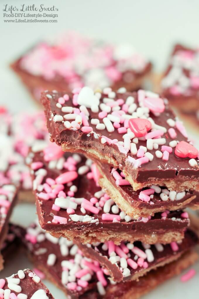 Valentine's Day Saltine Toffee with a bite out of it