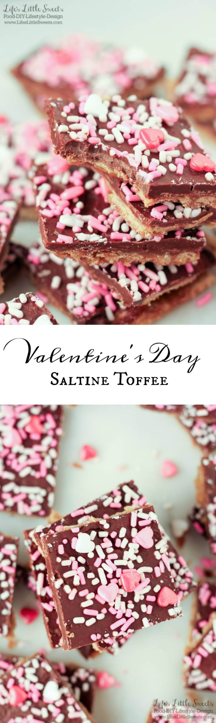 Valentine's Day Saltine Toffee is an easy to make, addictive, salty-sweet, candy snack. Make it for Valentine's Day gift giving for that special someone or for your next gathering! #ValentinesDay #dessert #snack #sweet #sprinkles #pink #saltines #crackers #toffee #candy #homemade