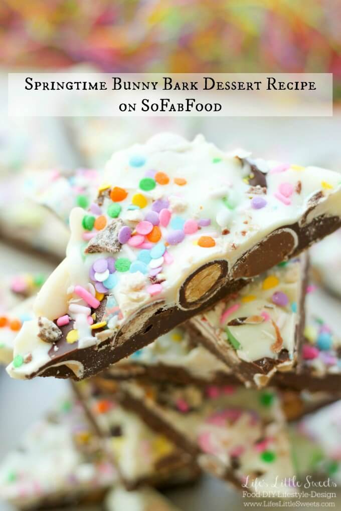 Springtime Bunny Bark Dessert Recipe on SoFabFood www.LifesLittleSweets.com