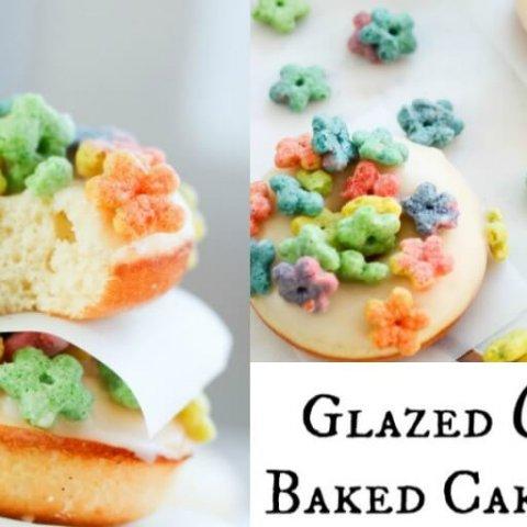 Glazed Cereal Baked Cake Donuts