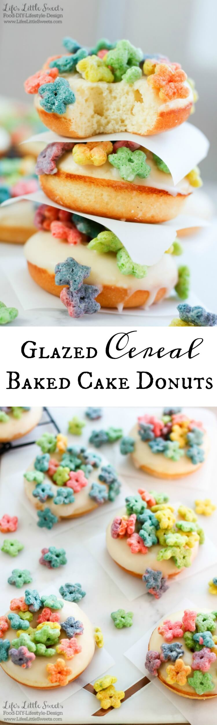 Glazed Cereal Baked Cake Donuts are a fun & delicious way to have your breakfast cereal! These fresh-baked cake donuts are dipped in vanilla glaze and sprinkled with cereal. (makes 12 donuts) #ad #CerealShakeup #CerealAnytime #CollectiveBias @Walmart @Post @MaltoMeal