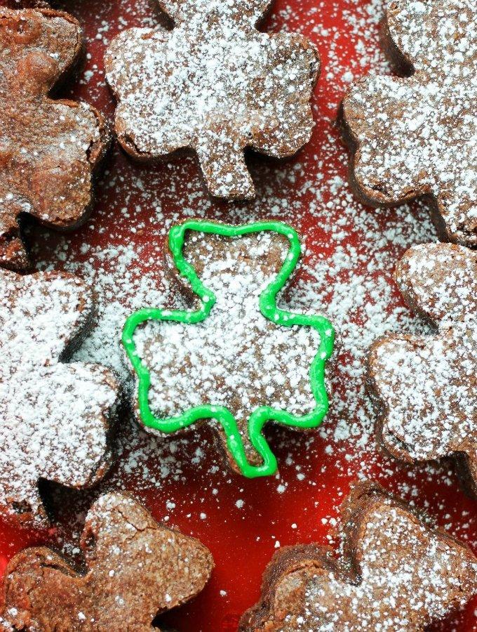 St. Patrick's Day Shamrock Shaped Brownies www.LifesLittleSweets.com