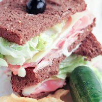 Wedge Salad Ham and Swiss Sandwich with Homemade Ranch Dressing