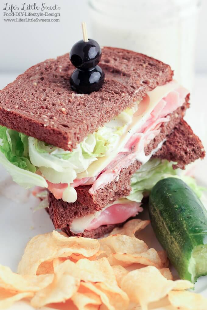 This Wedge Salad Ham and Swiss Sandwich with Homemade Ranch Dressing has all the crisp freshness of a wedge salad with Iceberg lettuce. This sandwich includes a recipe for Homemade Ranch Dressing which includes Hellmann's Real Mayonnaise® and goes so well with Hillshire Farms® Thin Sliced Honey Ham & Pepperidge Farm® bread! #ad #SandwichWithTheBest #CollectiveBias @Walmart @hillshirefarm @hellmanns @PepperidgeFarm