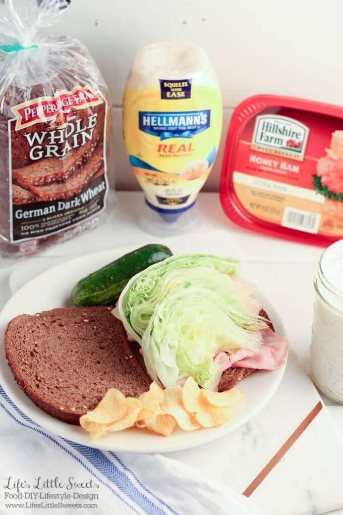 This Wedge Salad Ham and Swiss Sandwich with Homemade Ranch Dressing has all the crisp freshness of a wedge salad with Iceberg lettuce. You can use Hellmann's Real Mayonnaise® alone or optionally, this sandwich includes a recipe for Homemade Ranch Dressing which includes Hellmann's Real Mayonnaise® and goes so well with Hillshire Farms® Thin Sliced Honey Ham & Pepperidge Farm® bread! #ad #SandwichWithTheBest #CollectiveBias @Walmart @hillshirefarm @hellmanns @PepperidgeFarm