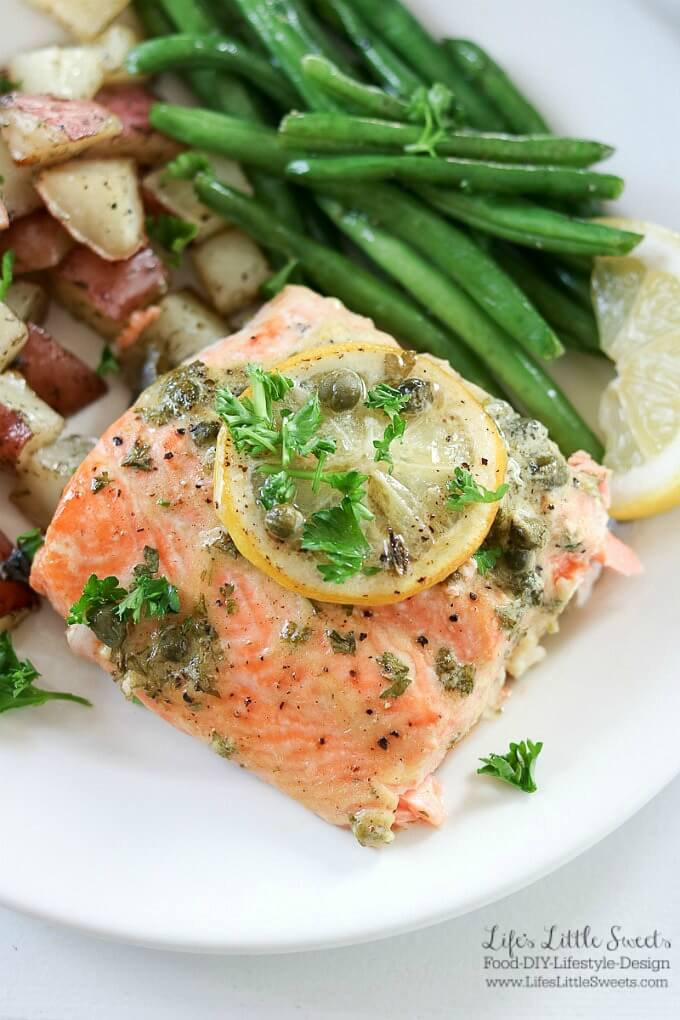 Baked Dijon Lemon Caper Salmon Dinner | Here are 12 Mother's Day Recipes for Mother's Day! From Breakfast, to salad, to dinner, and dessert options, we have something to make Mom feel special and treated! www.LifesLittleSweets.com