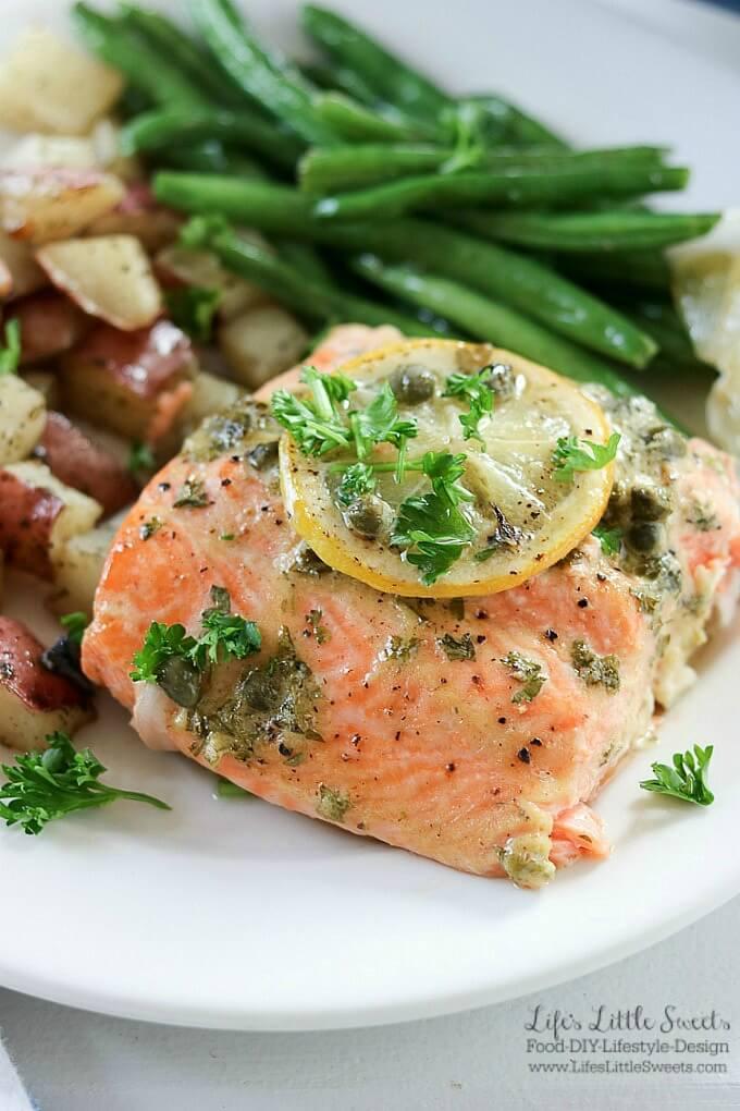 Baked Dijon Lemon Caper Salmon Dinner W Roasted Green