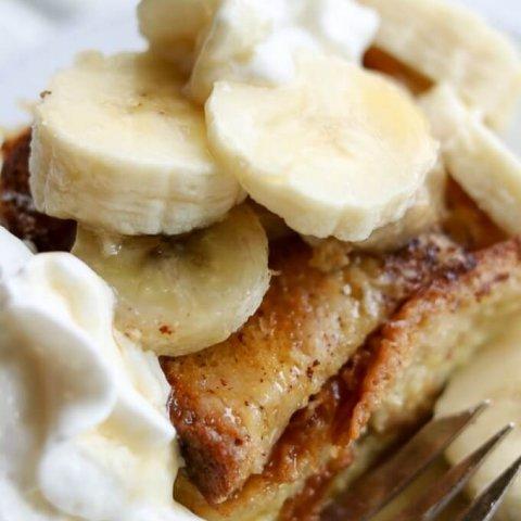 Banana Caramel French Toast Breakfast Bake www.LifesLittleSweets.com