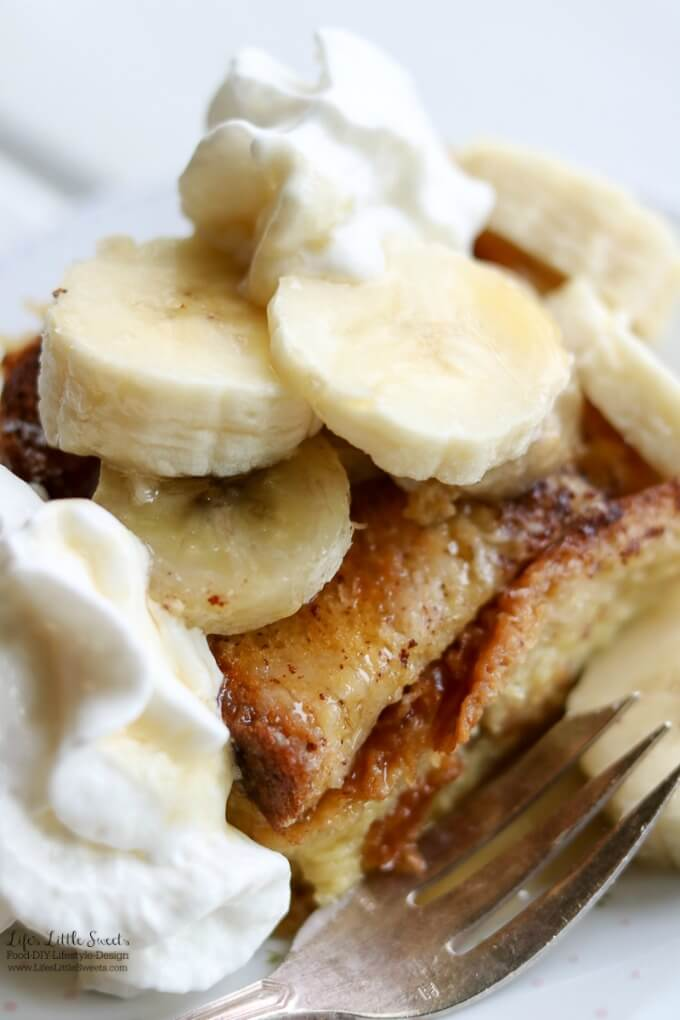 Banana Caramel French Toast Breakfast Bake | Here are 12 Mother's Day Recipes for Mother's Day! From Breakfast, to salad, to dinner, and dessert options, we have something to make Mom feel special and treated! www.LifesLittleSweets.com