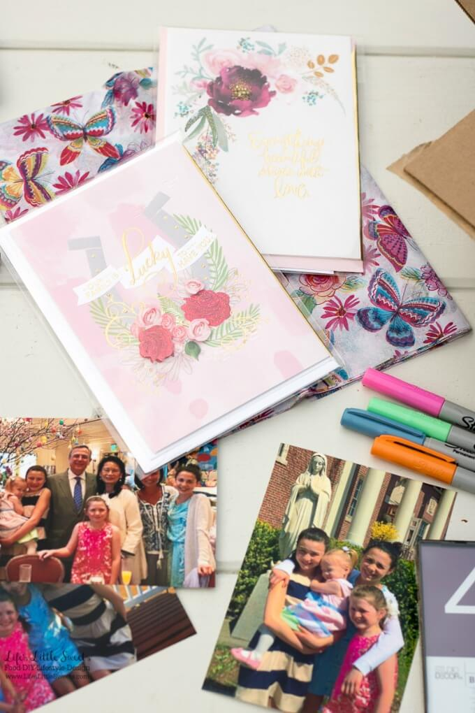 Gather your materials   This DIY Mother's Day Care Package is a perfect, thoughtful gift for a Mother in your life! Fill a box with special, framed photos and you can complete your package with a Hallmark Signature card. #ad #HallmarkForMom #CollectiveBias @walmart www.LifesLittleSweets.com