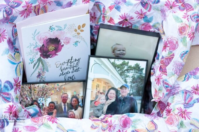All packaged up!   This DIY Mother's Day Care Package is a perfect, thoughtful gift for a Mother in your life! Fill a box with special, framed photos and you can complete your package with a Hallmark Signature card. #ad #HallmarkForMom #CollectiveBias @walmart www.LifesLittleSweets.com