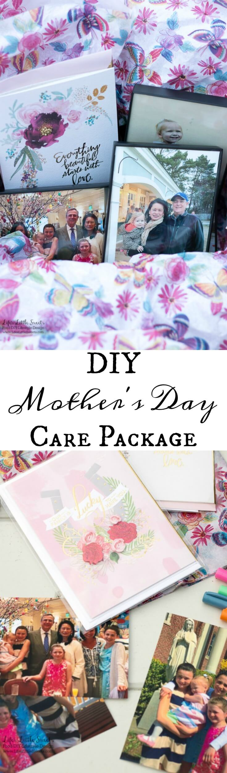 This DIY Mother's Day Care Package is a perfect, thoughtful gift for a Mother in your life! Fill a box with special, framed photos and you can complete your package with a Hallmark Signature card. #ad #HallmarkForMom #CollectiveBias @walmart @hallmark www.LifesLittleSweets.com