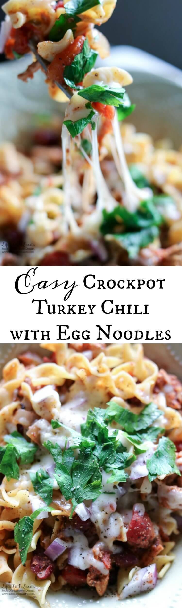 This Easy Crock-Pot Turkey Chili with Egg Noodles recipe is perfect for when you want hot comfort food that satisfies every food group. Let your Crock-Pot/slow cooker do all the work for you!