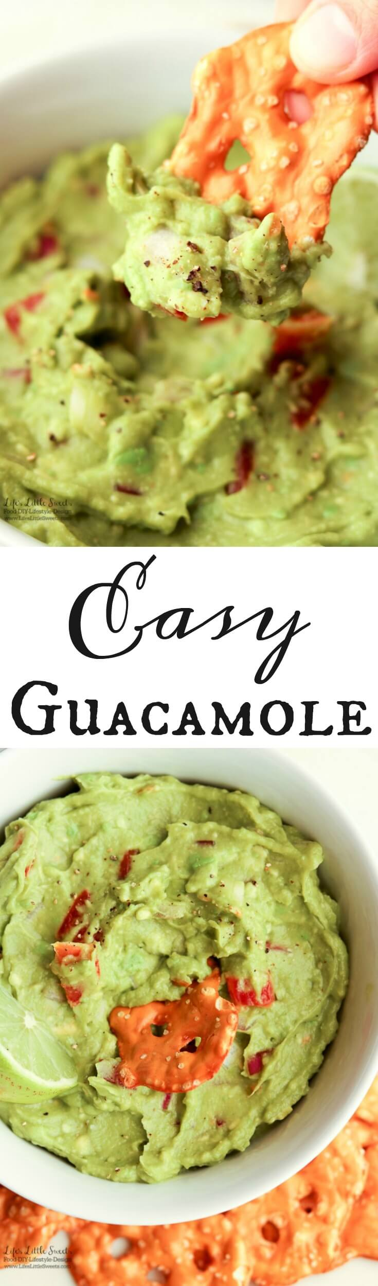 This Easy Guacamole is fresh and a perfect recipe for Spring and Summer. A simple recipe with red onions, fresh chopped tomatoes and a spritz of lime, enjoy it for any gathering, game day or a quick snack for yourself! www.lifeslittlesweets.com