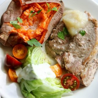 Marinated Pork Roast with Wedge Salad and Baked Sweet Potatoes Dinner