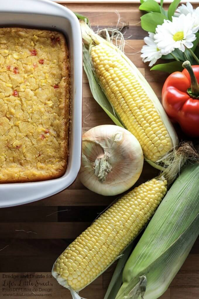 Perfect for corn Season! | If there were a non-traditional dessert you could eat right along with a meal, this Corn Soufflé would be it. It's creamy and sweet and uses corn three ways; fresh corn right off the cob, creamed corn, and corn meal. Corn Soufflé is the perfect side dish to a cookout, weeknight dinner, or holiday meal. Little nuggets of onion and sweet red bell pepper give it even more fresh-from-the-garden flavors. Dredge and Drizzle for www.lifeslittlesweets.com