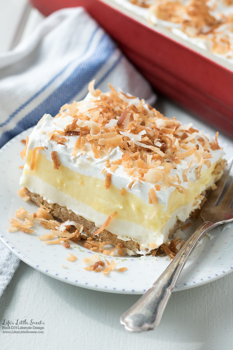 This Perfect Coconut Cream Lush Dessert Recipe recipe is light, creamy and filled with coconut deliciousness. It's a one-pan dessert that feeds a crowd and even has a no-bake crust option for those hot weather days.