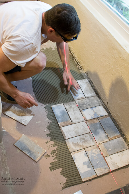 9. Eric gets the credit for finding our perfect floor tile! | Kitchen Renovation New Tile Floor – Check out the latest from the Life's Little Sweets home kitchen renovation being our tile floor odyssey this past week (and other updates with 45 photos!)