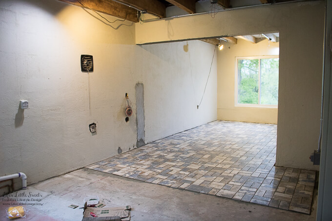 13. This was taken around 3 pm Thursday 3/4/2017 after a full day of tiling. | Kitchen Renovation New Tile Floor – Check out the latest from the Life's Little Sweets home kitchen renovation being our tile floor odyssey this past week (and other updates with 45 photos!)