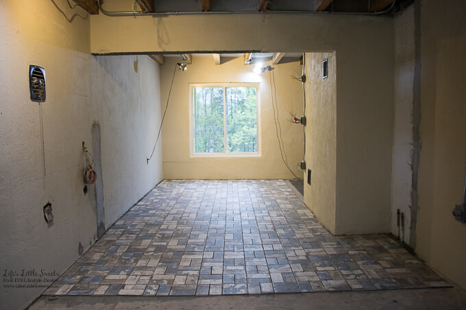 15. This is more than 50% of the room tiled | Kitchen Renovation New Tile Floor – Check out the latest from the Life's Little Sweets home kitchen renovation being our tile floor odyssey this past week (and other updates with 45 photos!)