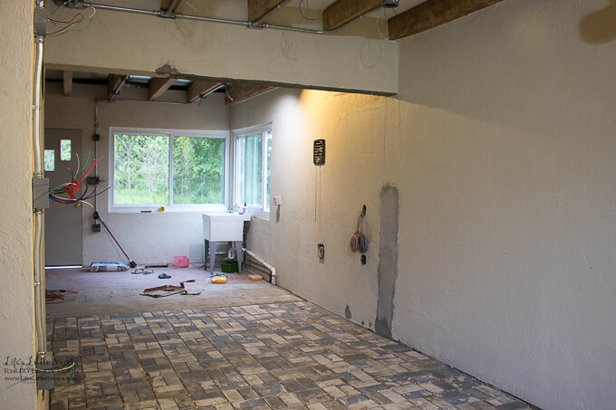 16. Past the midway point just beyond the ceiling beam | Kitchen Renovation New Tile Floor – Check out the latest from the Life's Little Sweets home kitchen renovation being our tile floor odyssey this past week (and other updates with 45 photos!)