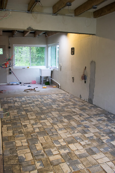 17. What seems like miles of tile | Kitchen Renovation New Tile Floor – Check out the latest from the Life's Little Sweets home kitchen renovation being our tile floor odyssey this past week (and other updates with 45 photos!)