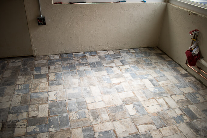 The end of the room | Threshold | Kitchen Renovation New Tile Floor – Check out the latest from the Life's Little Sweets home kitchen renovation being our tile floor odyssey this past week (and other updates with 45 photos!)