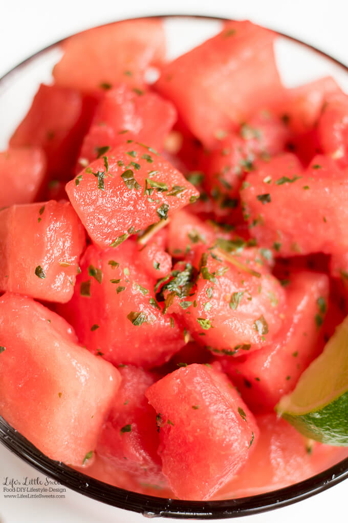 Watermelon Lime Mint Salad Recipe www.LifesLittleSweets.com