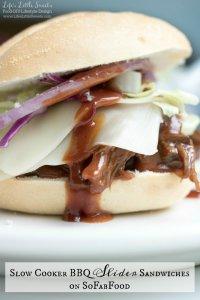 Slow Cooker BBQ Slider Sandwiches on SoFabFood www.lifeslittlesweets.com Sara Maniez