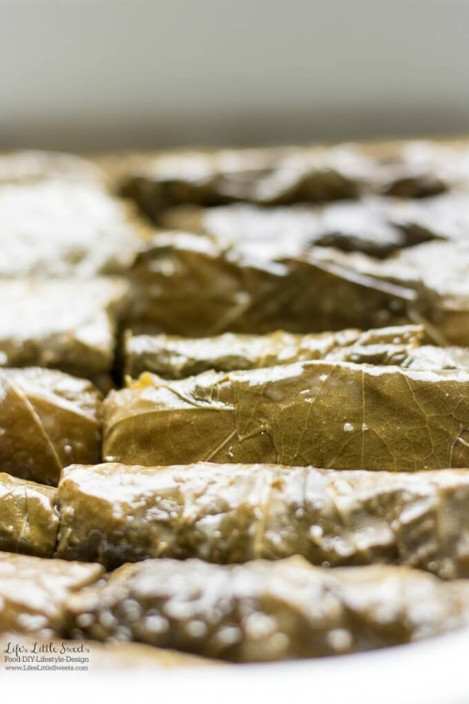 Up close | This Stuffed Grape Leaves Recipe is perfect for Spring and Summer; enjoy them at picnics, a party or a family gathering. They are stuffed with cooked rice, dill, mint with fresh squeezed lemon juice and then wrapped in delicious grape leaves. (serve hot or cold, meat and vegan option)