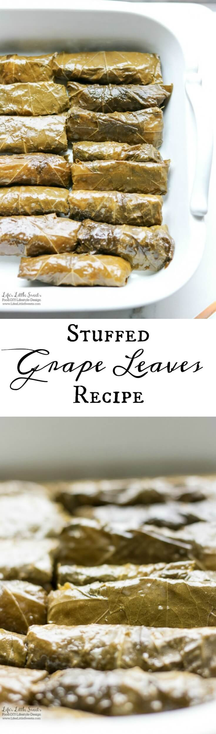 This Stuffed Grape Leaves Recipe is perfect for Spring and Summer; enjoy them at picnics, a party or a family gathering. They are stuffed with cooked rice, dill, mint with fresh squeezed lemon juice and then wrapped in delicious grape leaves. (serve hot or cold, vegan option)