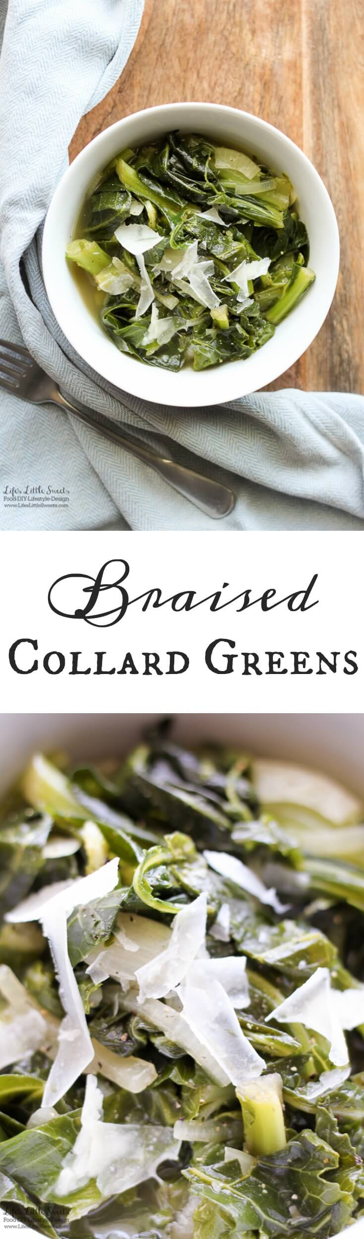 This Braised Collard Greens recipe is the perfect, savory side dish for any dinner. (GF & vegan option) www.lifeslittlesweets.com
