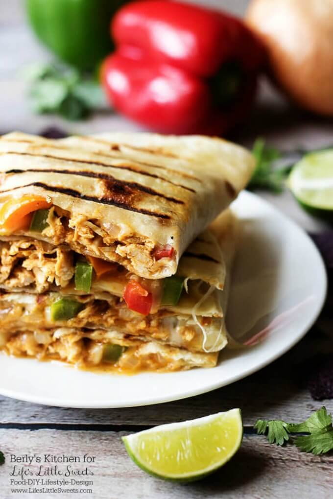 Grilled Cheesy Chicken Fajita Quesadillas