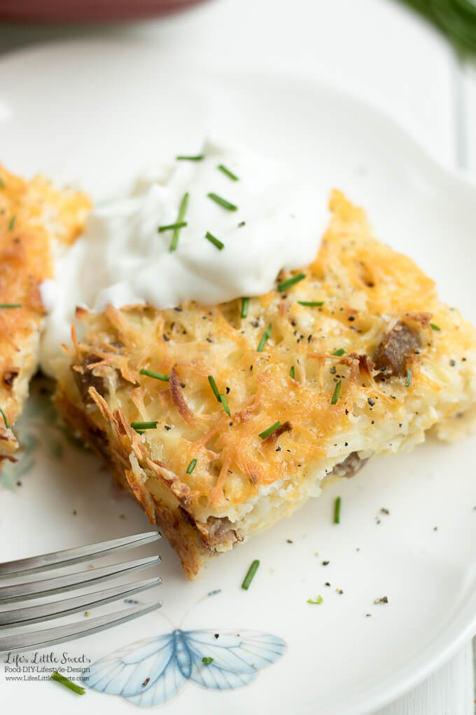 This savory and satisfying Sausage Hash Brown Breakfast Casserole Bake has sausage, hash browns, cheese and eggs. It's perfect for any breakfast or brunch gathering! (12 slices).