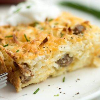 Sausage Hash Brown Breakfast Casserole Bake