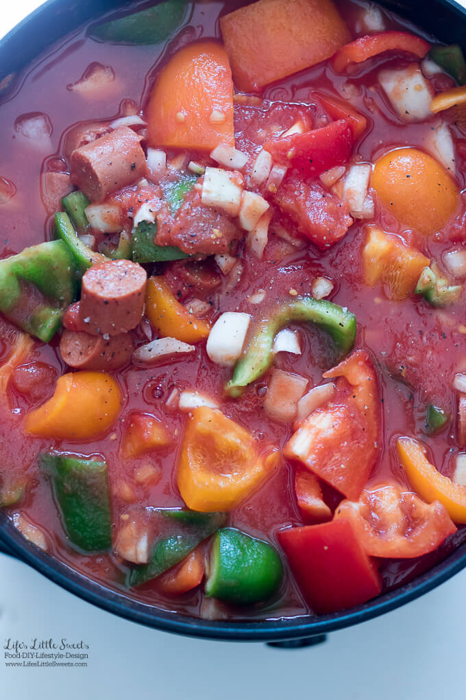 This Franks and Peppers Stew Recipe is a family recipe that offers a new way to have classic American Beef Franks. This garden vegetable stew has all the flavors of Summer produce, it's hearty and satisfying and serves a crowd. Make it for your next BBQ, potluck or family gathering. www.lifeslittlesweets.com #ad #StarsOfSummer #CollectiveBias @walmart @huntschef