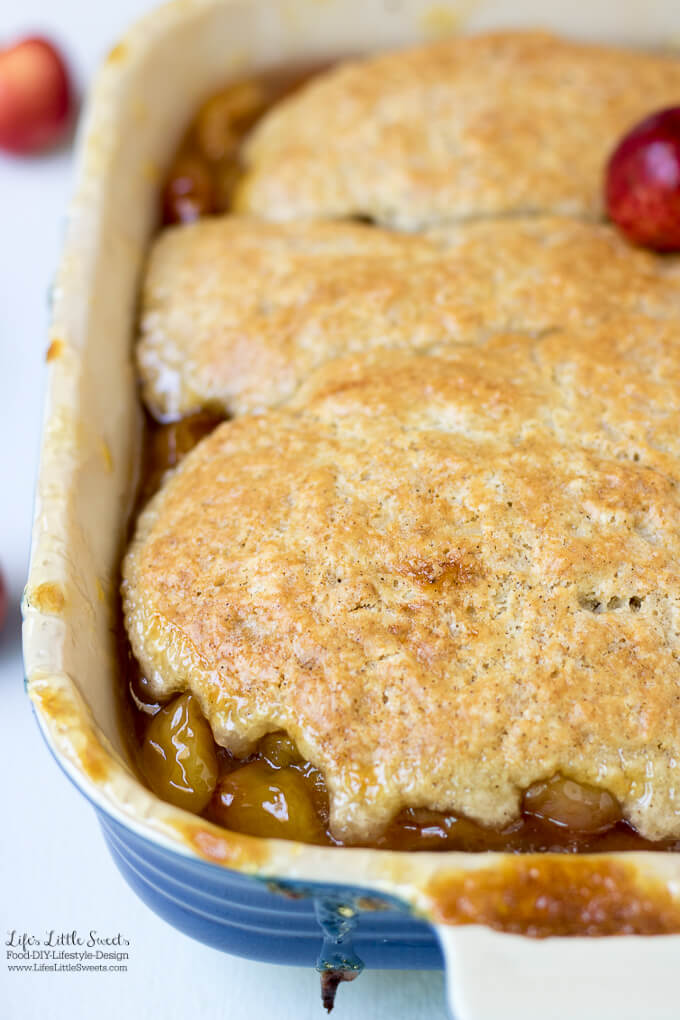 This Cherry Cobbler Recipe is sweet, filled with delicious fresh cherries and perfect for any Summer gathering. (serves 6) www.lifeslittlesweets.com