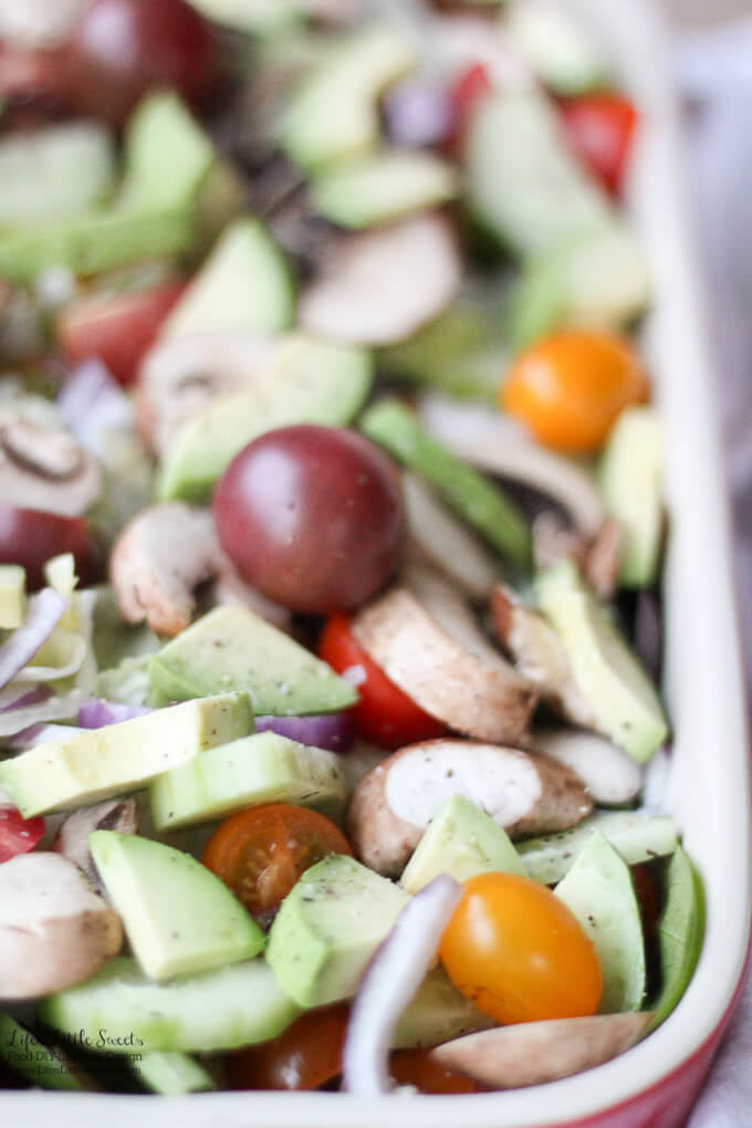 This Avocado Garden Salad Recipe is the perfect Spring or Summer salad or bringing to a BBQ, family dinner, holidays or any gathering. Filled with fresh garden flavors and creamy avocado, top it with your favorite dressing! www.lifeslittlesweets.com