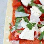 Tomato Basil Mozzarella Puff Pastry Tart www.lifeslittlesweets.com