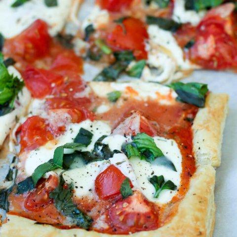 Tomato Basil Mozzarella Puff Pastry Tart
