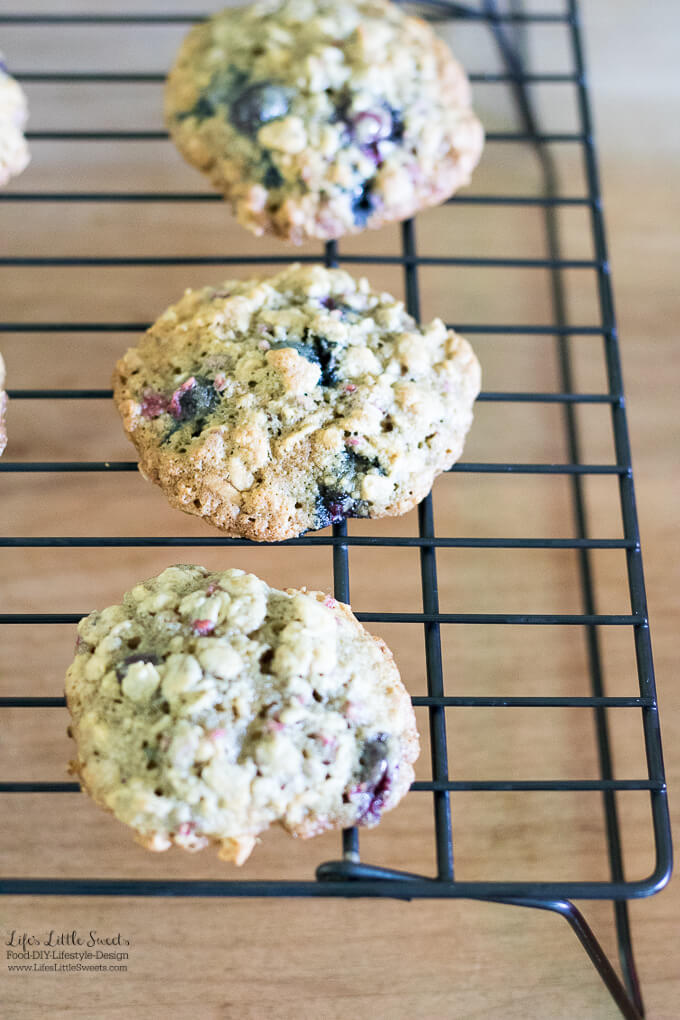 These Raspberry Blueberry Oatmeal Cookies are the perfect breakfast cookie. They incorporate your favorite seasonal berries in a delicious oatmeal cookie! (makes about 30-36 cookies)