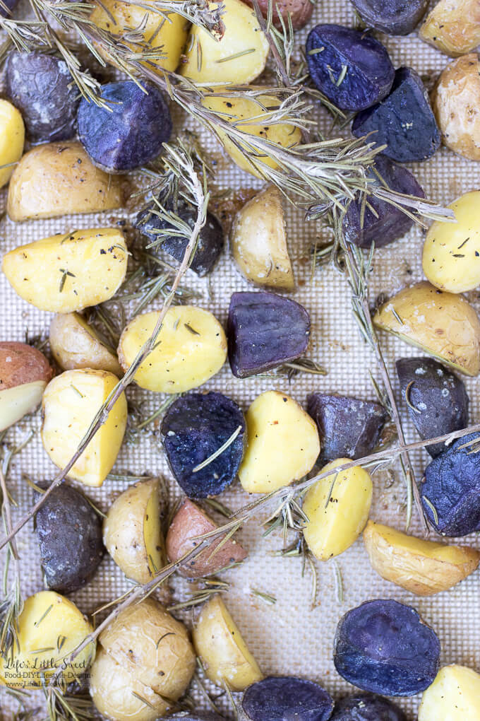 These Roasted Rosemary Potatoes are a savory, aromatic and delicious side dish to go with your meal or have them over a fresh salad. (vegan option)