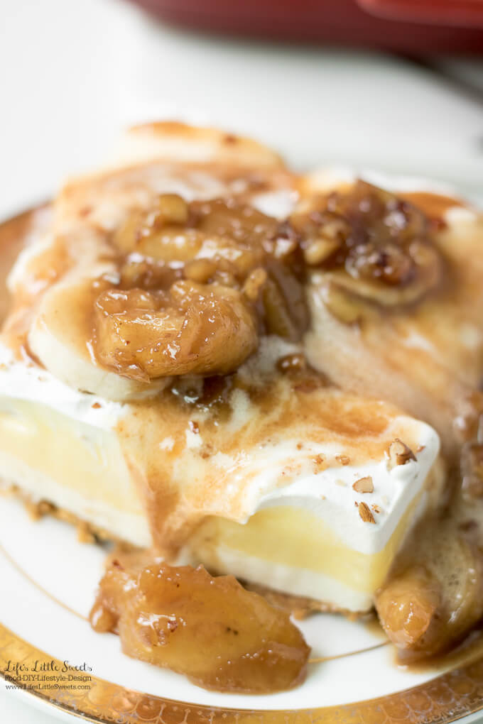 Layered Lasagna Lush Dessert Recipes | Banana Cream Lush with Bananas Foster Sauce Recipe