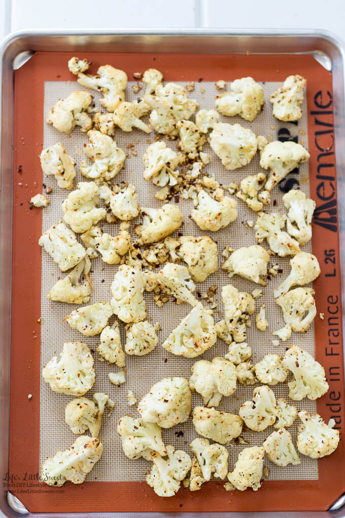 This Spicy Roasted Cauliflower is the perfect side to go with any dinner. It is savory and flavorful, with 3 ingredients and only takes 30 minutes to make!