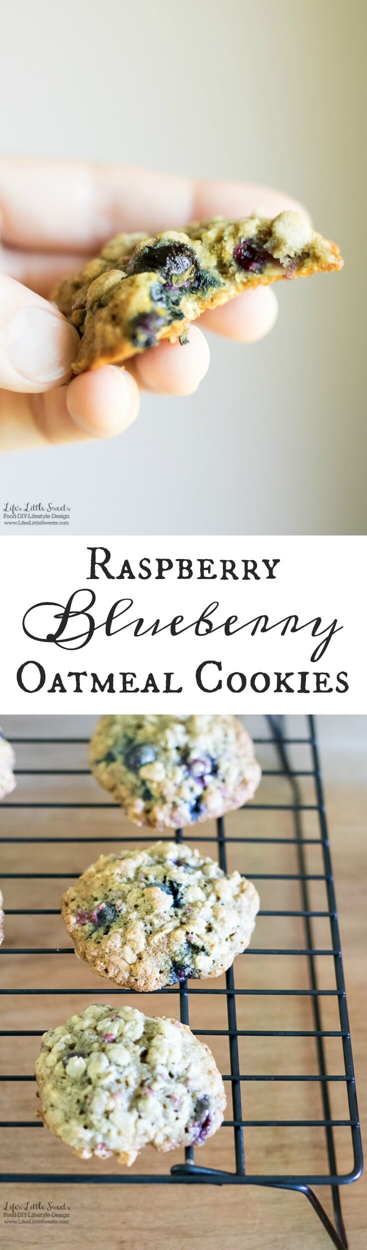 These Raspberry Blueberry Oatmeal Cookies are the perfect breakfast cookie. They incorporate your favorite seasonal berries in a delicious oatmeal cookie! (makes about 30-36 cookies) www.lifeslittlesweets.com